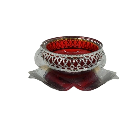Vintage Ruby Red Dish Silver Petal Accents